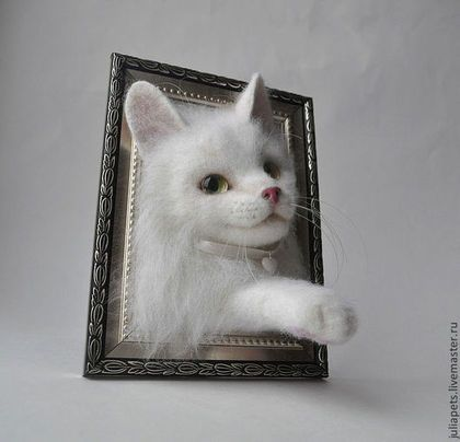Котик ангорский  Интерьерное украшение Картина панно из шерсти
