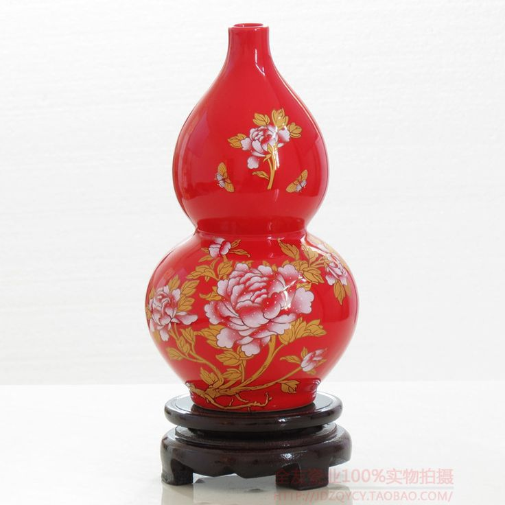 Jingdezhen Chinese red ceramic vase gold jewelry ornaments Home Furnishing gourd wedding gifts enrichment
