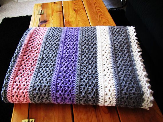 Vintage pink, gray, ivory and purple crochet afghan. throw ...