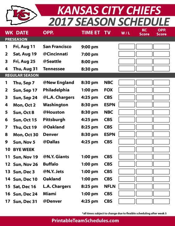 Kansas City Chiefs Football Schedule 2017 https://www.fanprint.com/licenses/kansas-city-chiefs?ref=5750