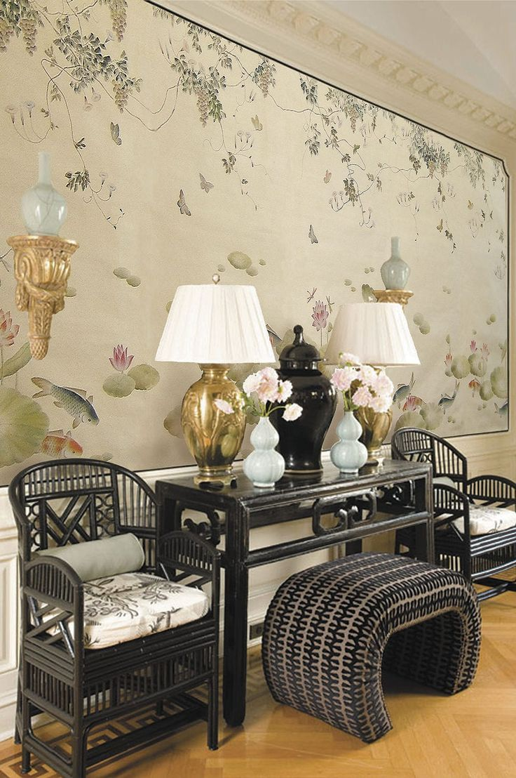 Tr traditional bedroom designs for couples - Traditional Wallpaper Floral Animal Motif Chinoiserie Birds In The Shade Tr