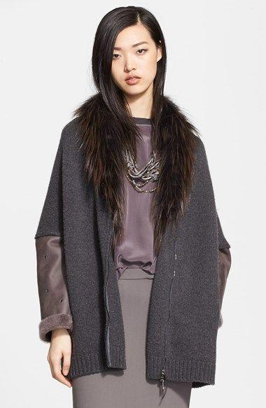 Fabiana Filippi Genuine Shearling Sleeve Sweater Coat with Genuine Fox Fur Collar | Nordstrom