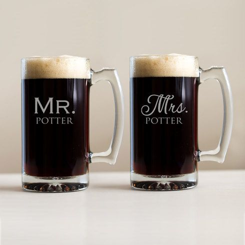 Shop & personalize now: Our Mr. & Mrs. beer mugs are laser engraved with the newlyweds' names for a unique wedding gift or shower gift.