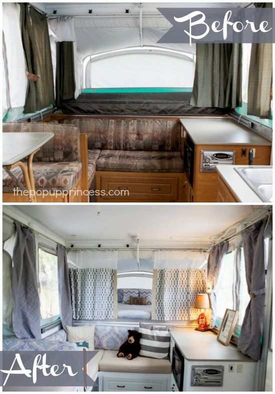 What an amazing pop up camper remodel.  It hardly looks like the same trailer.