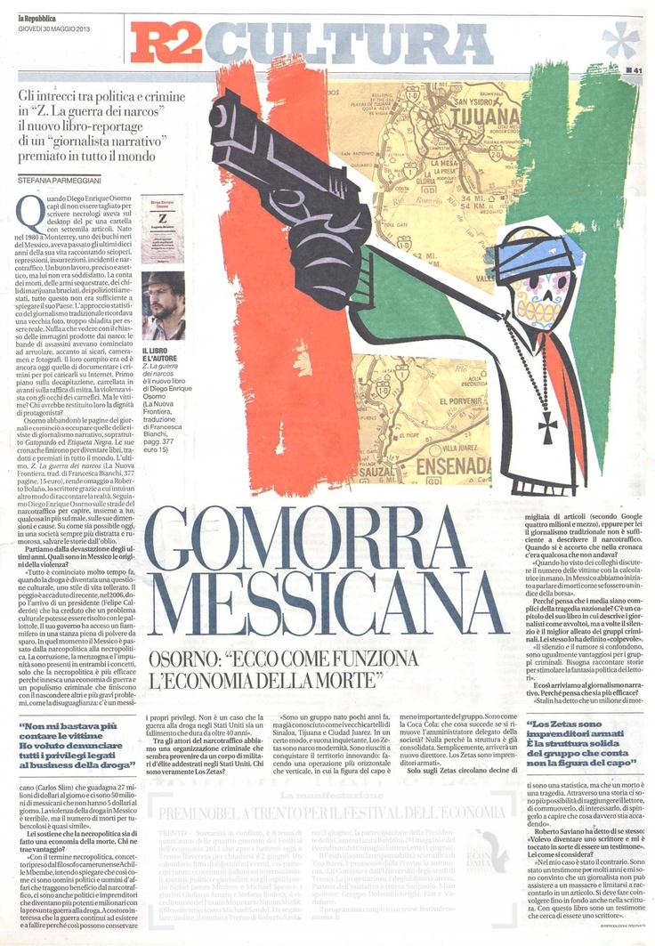 Intervista di Stefania Parmeggiani a Diego E. Osorno su Repubblica.