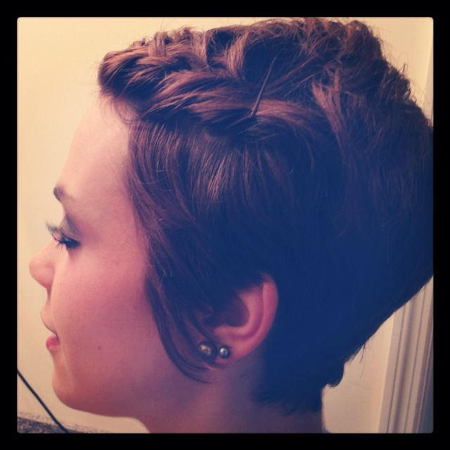 Pixie cut with bangs braided to the side. <3