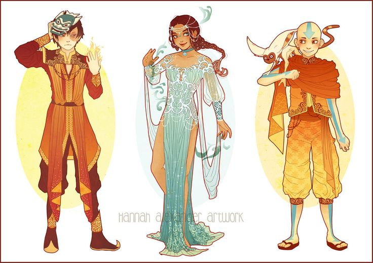 I had so much fun designing these guys :3 I absolutely adore Zuko, Katara and Aang. I pictured these outfits to be kind of ceremonial costumes. I can't pick a favourite out of the three - who is yo...
