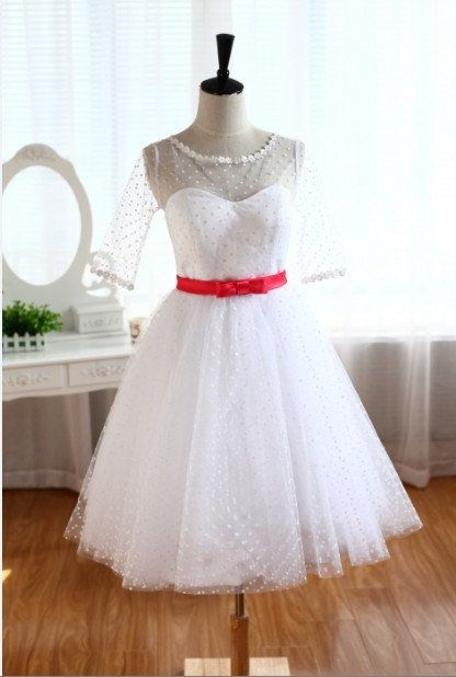 Swiss Polka Dots Tulle Wedding Dress Bridesmaid dress Elbow Sleeves Prom Dress Ball Gown Knee Tea short dress on Wanelo