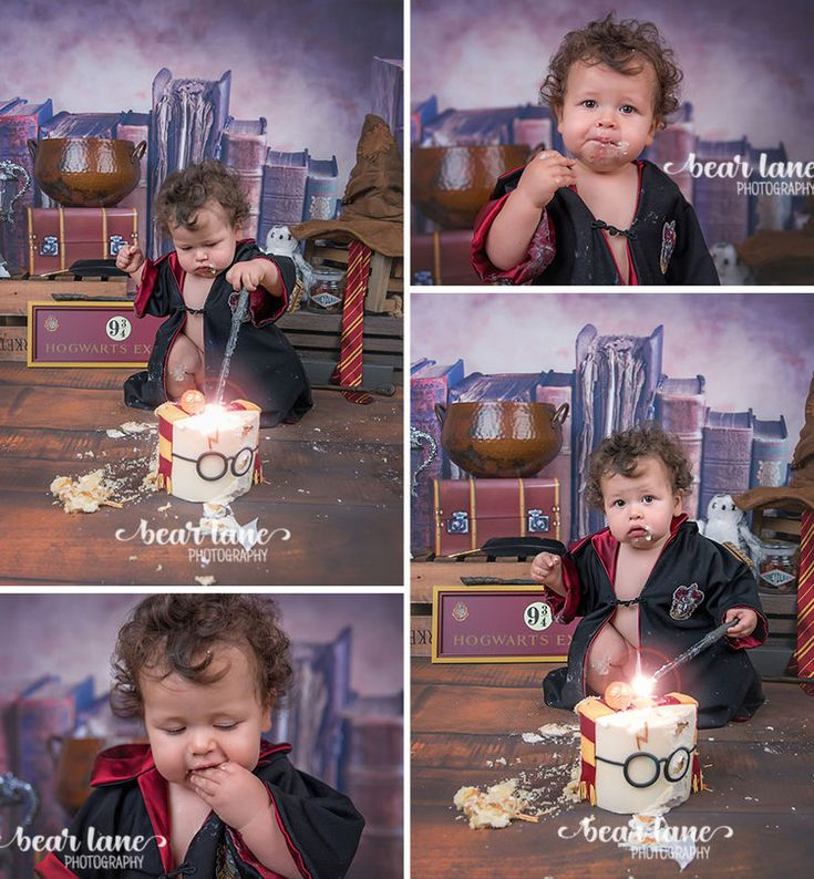 Baby boy first birthday portrait Harry Potter Gryffindor robe Wizard Magic Cake Smash Glasses Snitch and Sorting Hat | by Richmond Virginia Baby Child Family and Cake Smash Photographer Bear Lane Photography