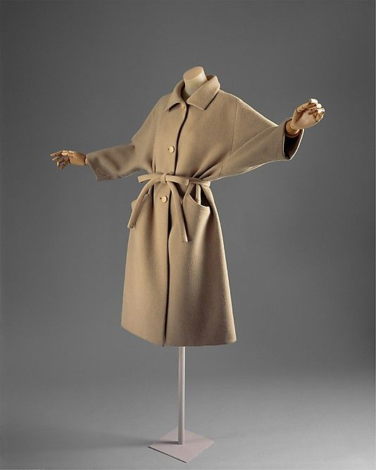 "Coat, Cristobal Balenciaga (Spanish, 1895–1972) for the House of Balenciaga (French, founded 1937): 1961, French, wool.    Marking: [label] ""Balenciaga/ 10 Avenue Georges V. Paris"""