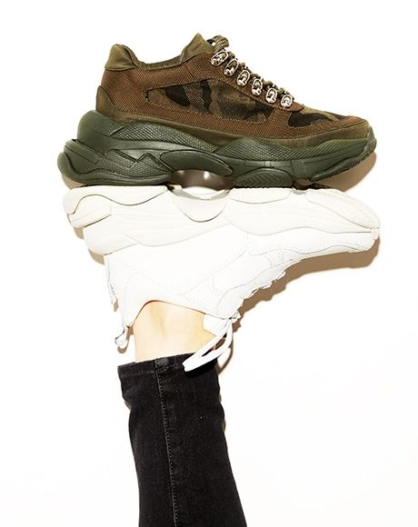 a8638facbcb2 Jeffrey Campbell dad sneakers. Chunky sole. Comfort style. Lo fi in white    Hotspot in green camo.