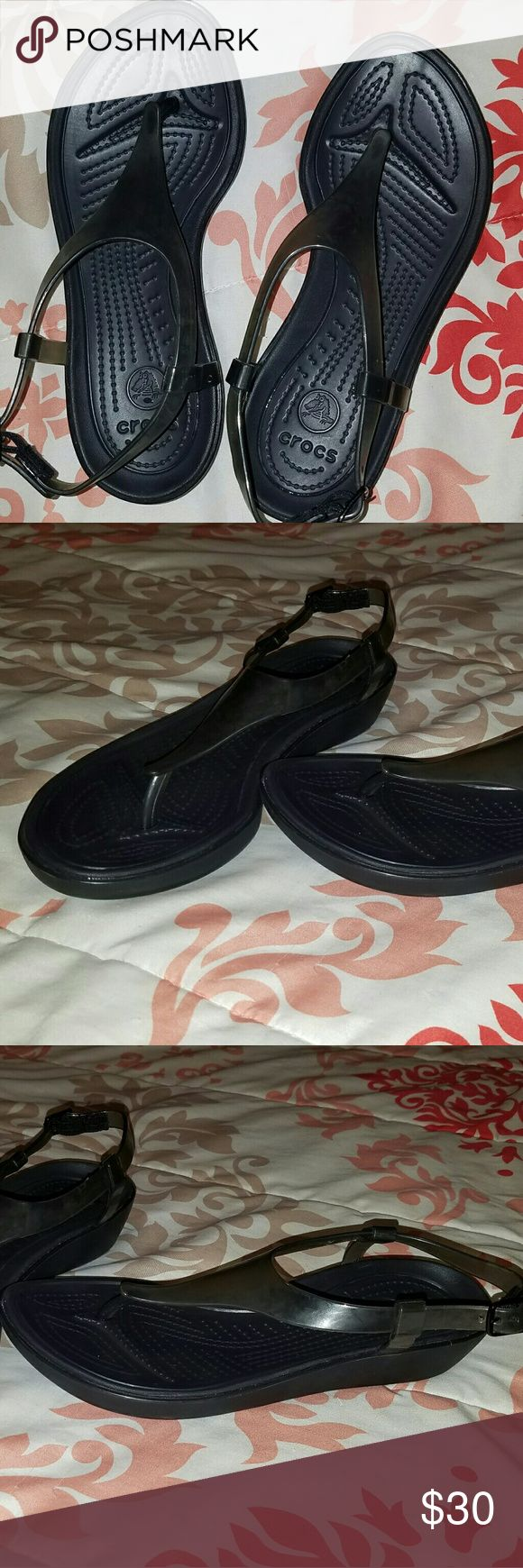 Womens Crocs! Size 6 Womens Crocs size 6 Worn once! EUC Black CROCS Shoes