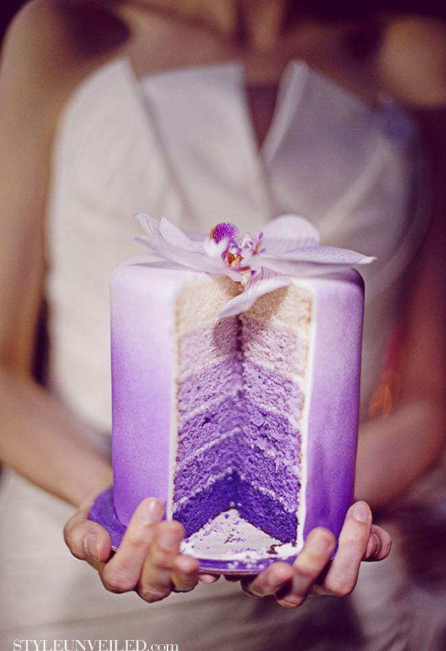 purple wedding cake! Are you kidding me.  Been married for 20 years, maybe an Anniversary cake!!!!