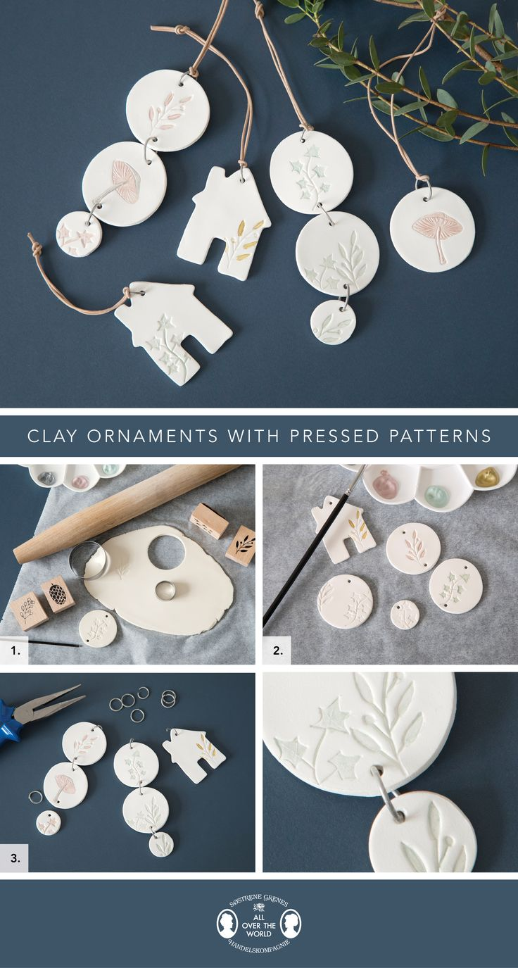 Clay ornaments with pressed patterns