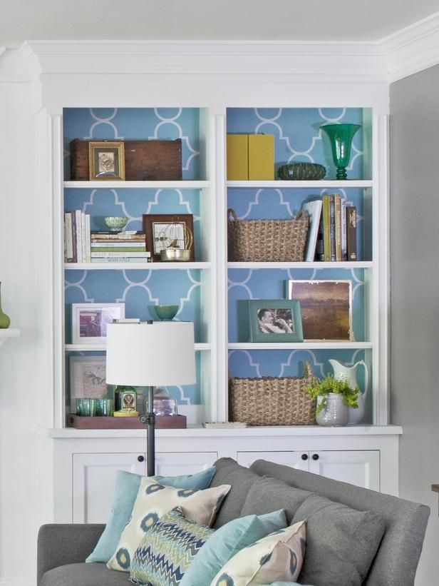 Built-in bookshelves with paper backing #hgtvmagazine http://www.hgtv.com/living-rooms/the-forgotten-living-room/pictures/page-4.html?soc=pinterestLiving Rooms, Decor Ideas, Built In Shelves Living Room, Built In Bookshelves, Wallpapers Inside, Bookcas, Book Shelves, Living Room Shelves Decor, Bookshelves In Living Room