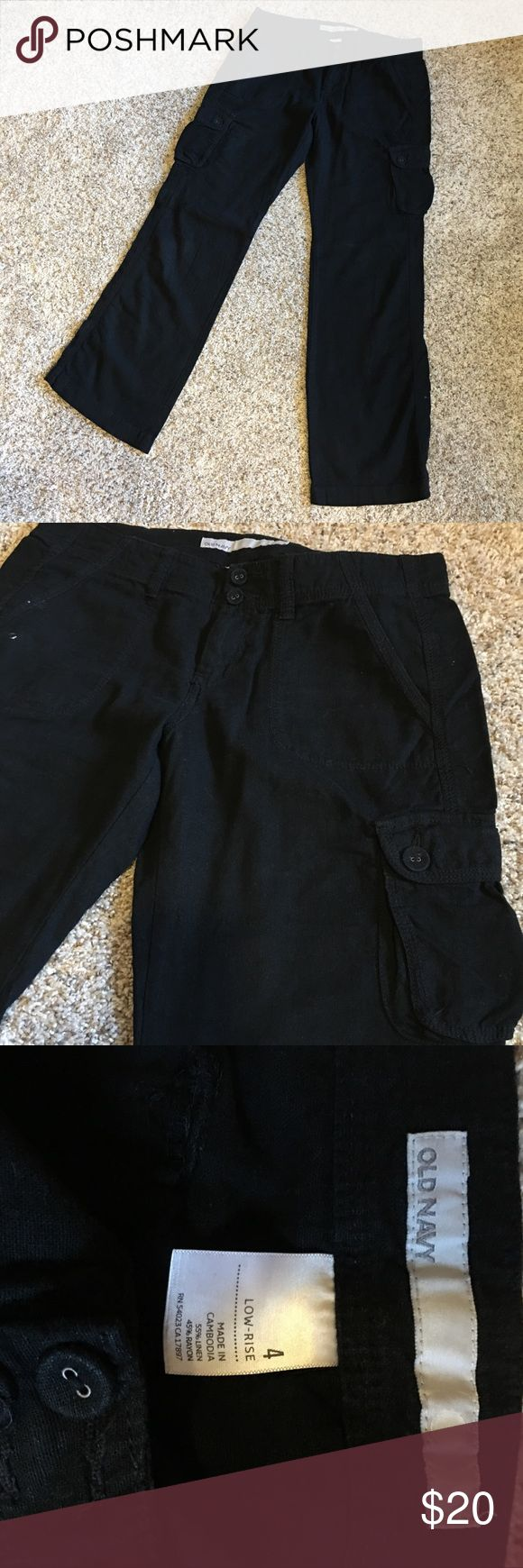 Old Navy Linen Cargo pants EUC These are awesome black Linen pants! Great quality with tons of wear left in them!! Old Navy Pants Straight Leg