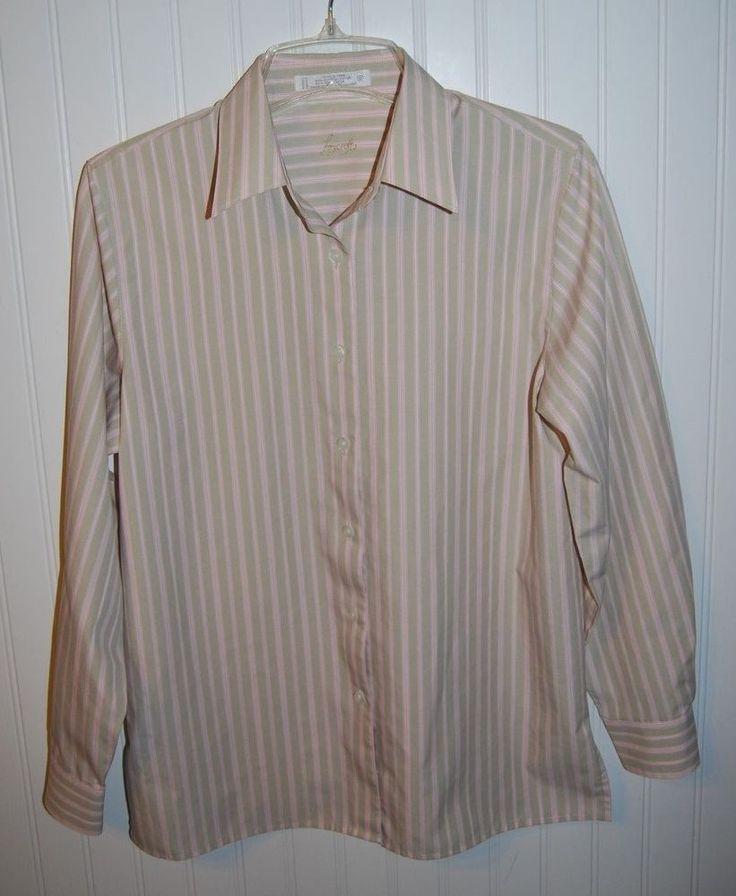 Foxcroft Women 39 S Size 6 Wrinkle Free Striped Long Sleeve