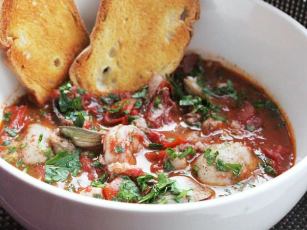 Cippino, the classic San Francisco fisherman's stew with tomatoes, wine, mussels, scallops, shrimp, and fish.