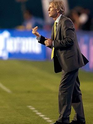 José Pekerman en el partido contra México en Miami en el mes de marzo del 2012; Colombia se impuso 2-0.