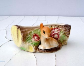 Vintage Hornsea Made in England Pottery Fauna Pattern 18  Fawn Posy Vase. Period: 1962-73