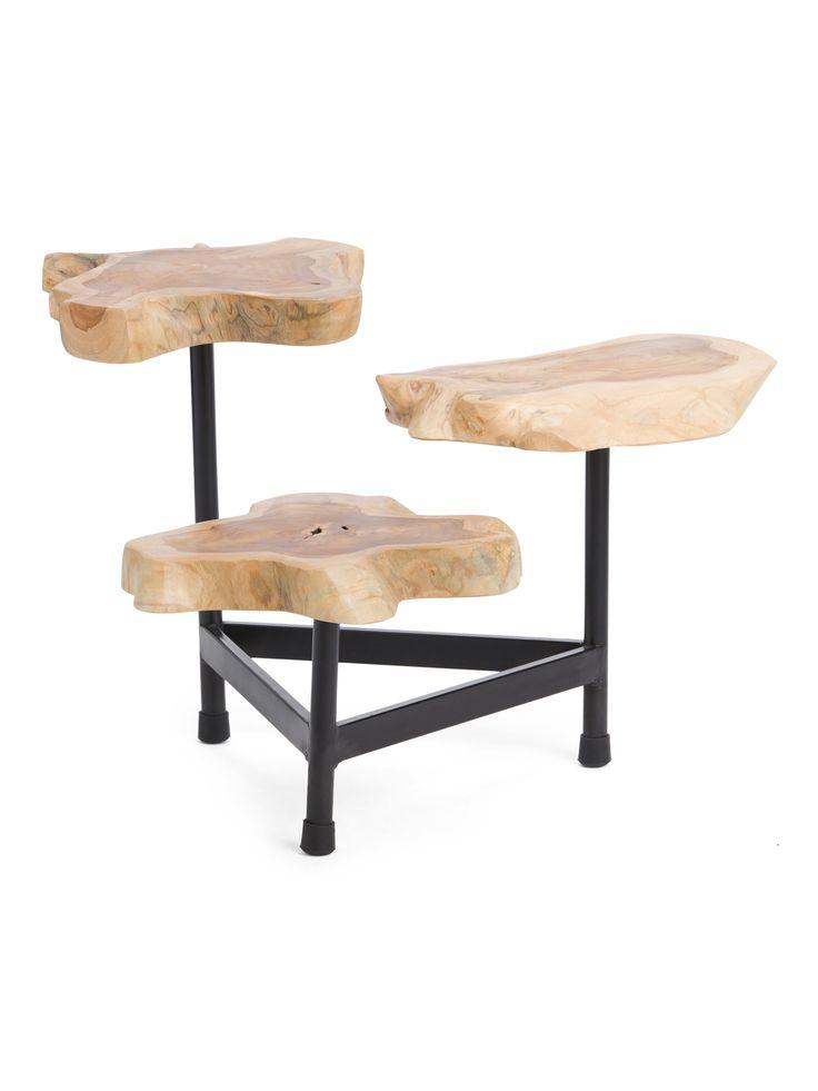 3 tier teak wood coffee table accent furniture tj