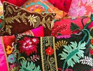 Delicious cushions!!! Embroidered feather-filled cushions in vintage silk, velvet and cotton available now from Masutti & Masutti,,,,from NZ$145