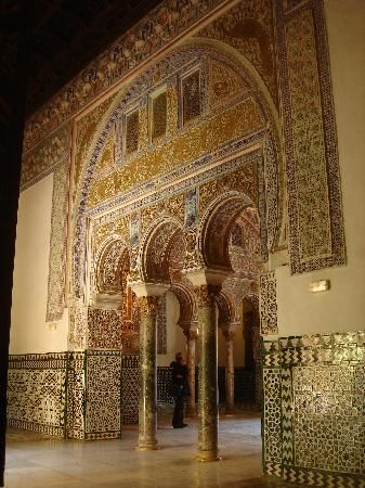 Golden tiles inside the Alcazar in Seville. http://www.costatropicalevents.com/en/costa-tropical-events/andalusia.html