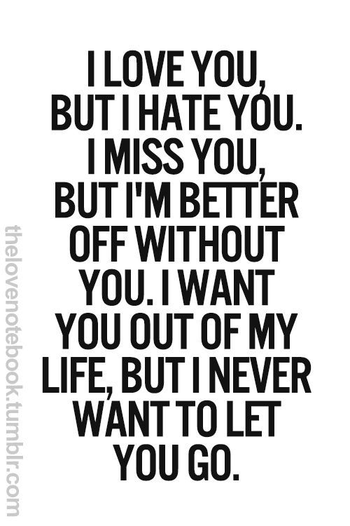 I love you, but I hate you. I miss you, But I'm better off without you. I want you out of my life, but I never want to let you go.