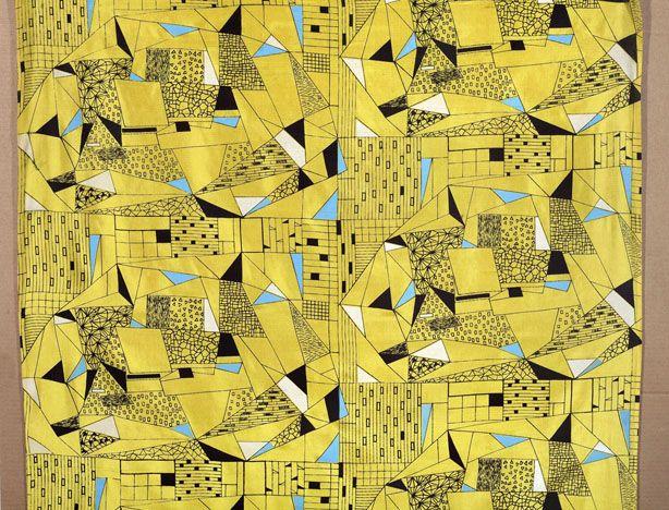 polish design, printed textile designed by anna Orzechowska 50/60'