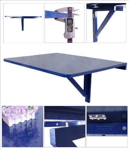 Tavolo da muro pieghevole in legno 75 60cm colore blu - Tavolo a muro cucina ...