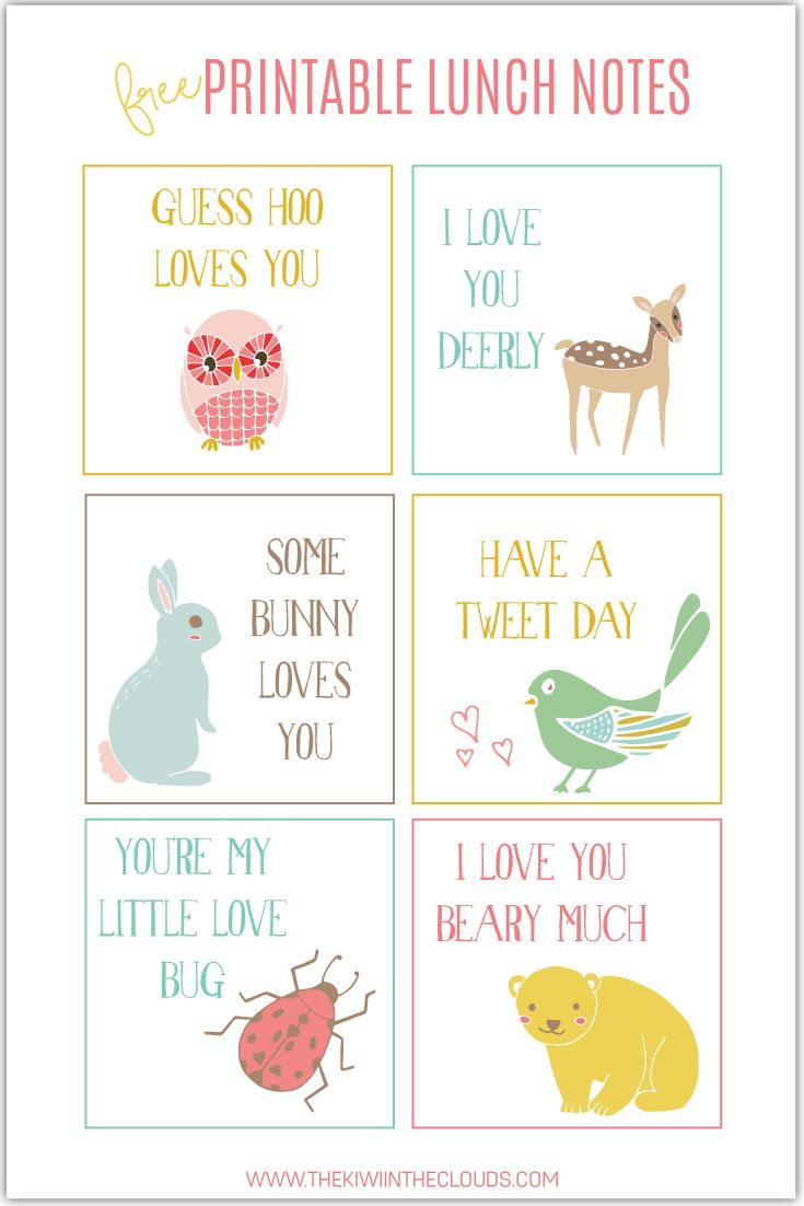 Free Printable School Lunch Notes for Kids. Lunchbox love.