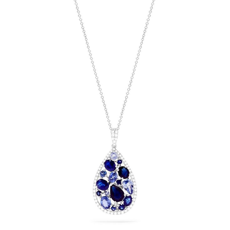 Effy Gemma 14K White Gold Sapphire and Diamond Teardrop Pendant, 3.80 TCW - Necklaces & Pendants - Women