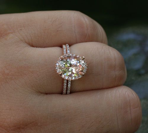 14k Rose Gold 9x7mm Morganite Oval Engagement Ring And Diamond Wedding Band Set Choose Color