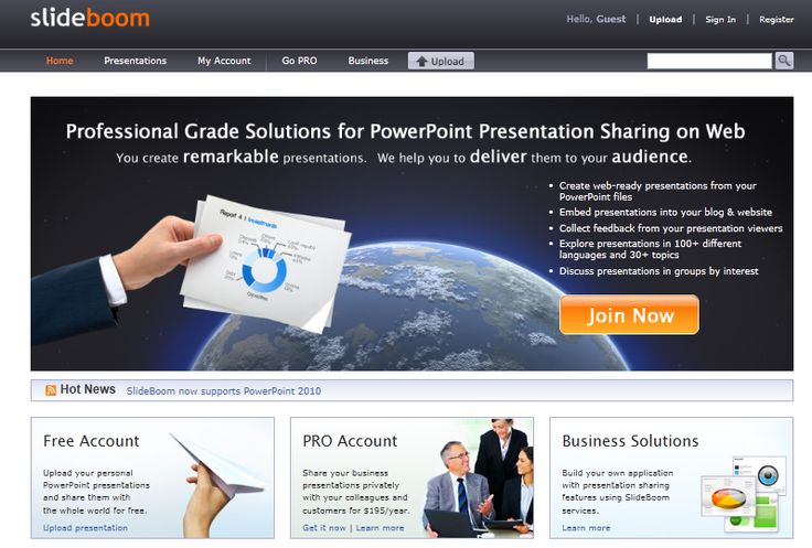 Professional Grade Solutions for Powerpoint Sharing on Web,  •Create web-ready presentations from your PowerPoint files •Embed presentations into your blog & website •Collect feedback from your presentation viewers •Explore presentations in 100+ different languages and 30+ topics •Discuss presentations in groups by interest