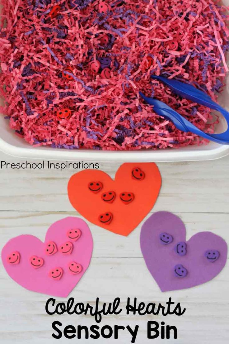 Colorful Hearts Sensory Bin for Valentine s