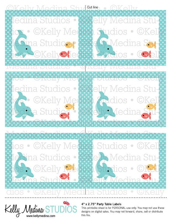 Classroom Design For Students With Autism ~ Dolphins aqua printable labels personal use table