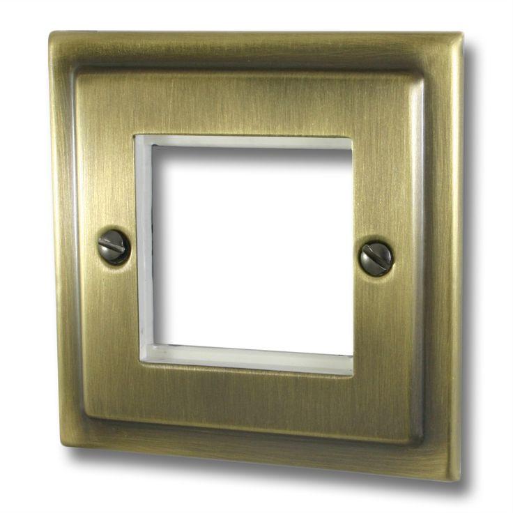 Victorian Antique Brass Single Modular Plate (2 Module Spaces)