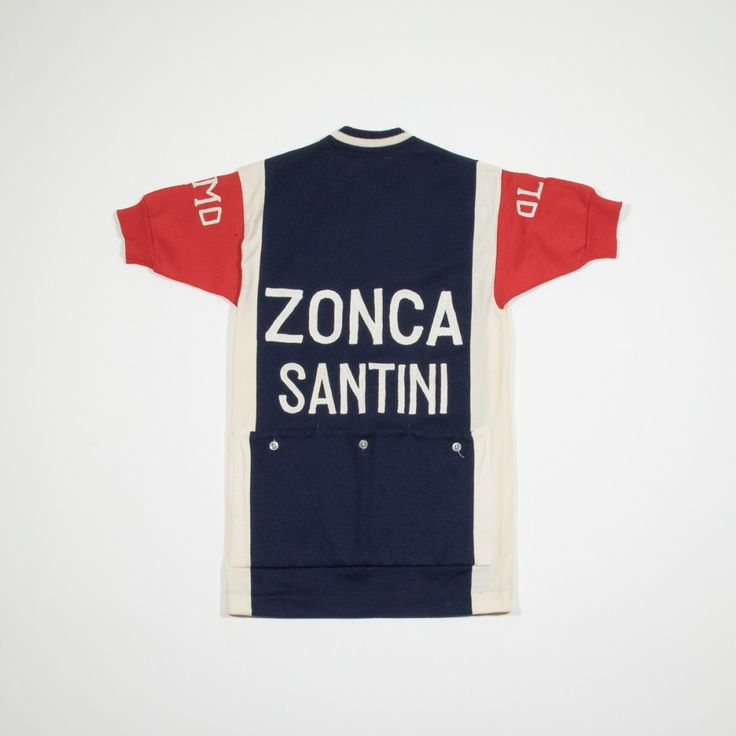 ✦ CLICK TO BUY ✦ CAMPAGNOLO - Cycling t-shirt in dark blue and red - T-shirt da ciclista rossa e blu - Zonca Santini - Millesimè Vintage Clothing & Accessories