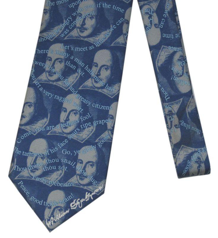 Shakespeare Witty Insults Kennedy Center Silk Necktie Long NWT #FoxChave #NeckTie
