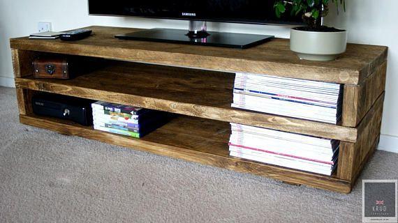 Krud K22 Rustic Tv Stand Handmade Solid Wood Scaffold Style 24