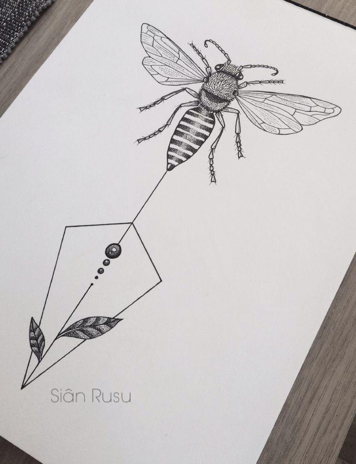 Honey Bee Drawing Dotwork, Staedtler, Fineliners Art, Artwork, Artist, Sketch Tattoos, Tattoo Ideas, Tattoo Designs, Geometric Tattoos