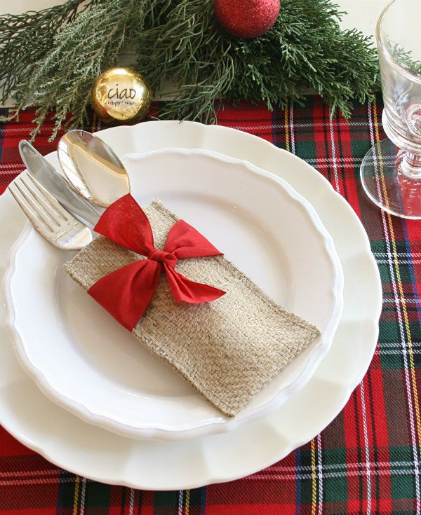 Burlap utensil holder with red ribbon is just so pretty for Christmas, but I am thinking they would be fun for birthdays, Valentine's Day and all the patriotic holidays!   Tartan decor