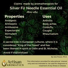 Claims by aromatherapists about Silver Fir Needle Essential Oil ~ http://artisanessentialoils.com/shop/all-essential-oils/fir-needle-essential-oil-white-silver/