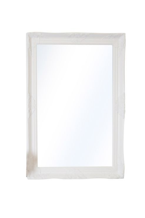 large white ornate shabby chic big wall mirror 3ft6 x 2ft6 106cm x 76cm