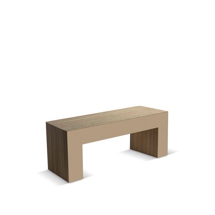 PANCA NR 7-120 - Carton Factory Designer: Skemp Design Misure: 120 X 40 X 45 Cartone naturale  #cartonfactory #ecodesign #cardboard #bench