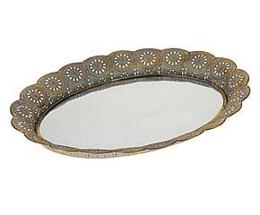 Vassoio in metallo con fondo specchiato e bordo floreale Alba oro/blu - 49x5x39 cm