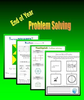 40 printable pages of brainteasers, patterns, sequences, word puzzles, toothpick (or matchstick) problems, how many squares, number analogies, and more to challenge your students as they end their year. This is some of my best TpT creations.