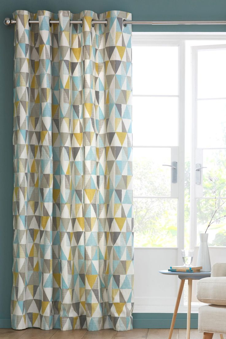 Buy Textured Geo Print Eyelet Curtains from the Next UK online shop