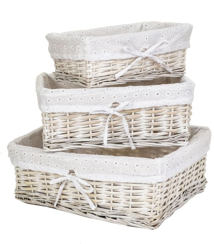 White Wash Wicker Shallow Storage Basket with Embroidered White Liner in 3 Sizes