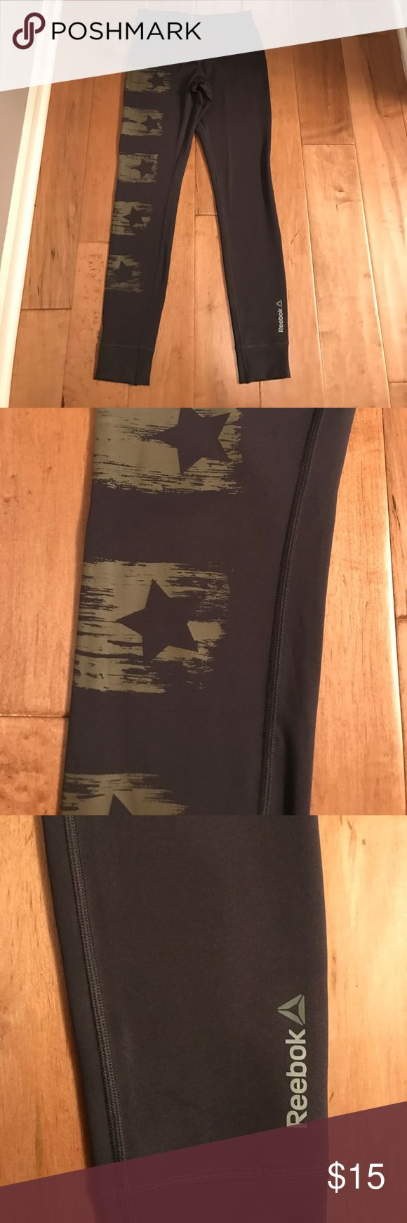 Reebok Star Leggings Military star print in army green on charcoal leggings by Reebok. Worn once! Size XSmall but fit like a Small. Reebok Pants Leggings